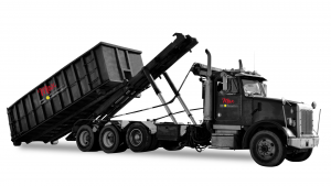 Max-Waste-Services-rolloff-truck-BW-with-logo